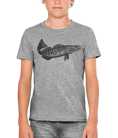 Printed In The Usa Austin Ink Apparel Pike Perch Fish Unisex Kids Short Sleeve Printed T Shirtin Color Berry Pink Size Large