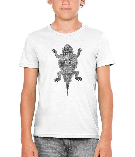 Austin Ink Apparel Short Horned Lizard Unisex Kids Short Sleeve Printed T-Shirt