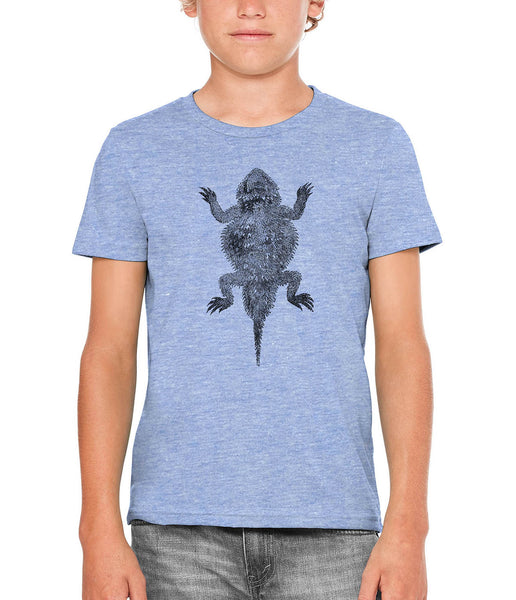 Printed In The Usa Austin Ink Apparel Short Horned Lizard Unisex Kids Short Sleeve Printed T Shirtin Color Triblend Green Size Large