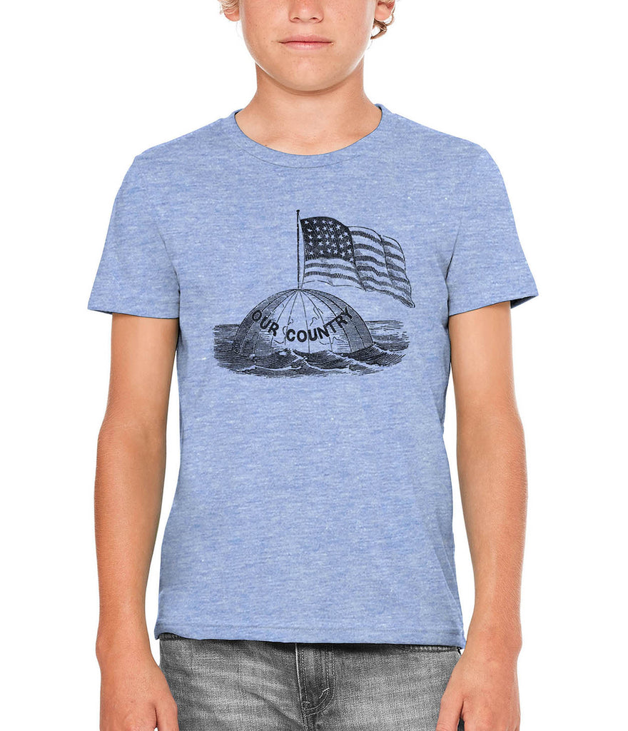 Austin Ink Apparel America on Top of the World Unisex Kids Short Sleeve Printed T-Shirt