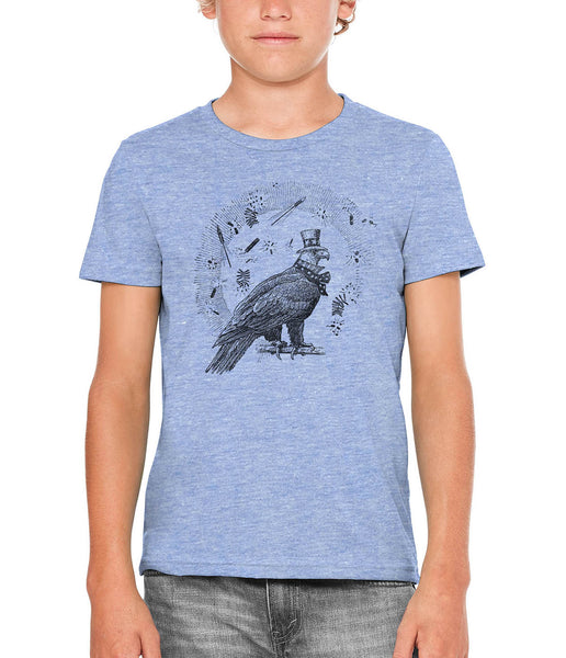 Austin Ink Apparel 4th of July Eagle Unisex Kids Short Sleeve Printed T-Shirt