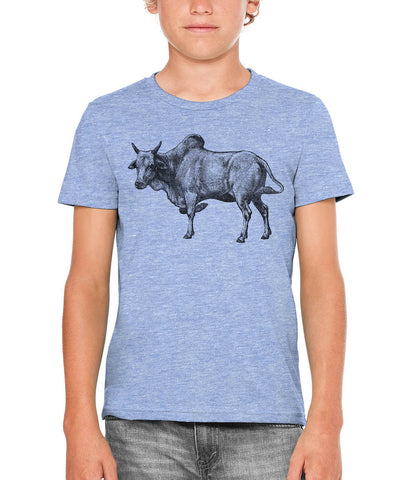 Printed In The Usa Austin Ink Apparel Zebu Cow Unisex Kids Short Sleeve Printed T Shirtin Color Berry Pink Size Large