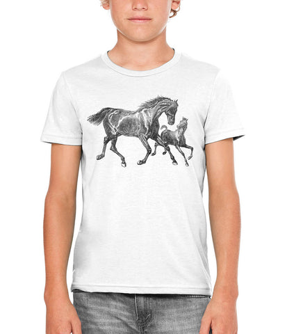 Printed In The Usa Austin Ink Apparel Wild Horses Unisex Kids Short Sleeve Printed T Shirtin Color Berry Pink Size Large