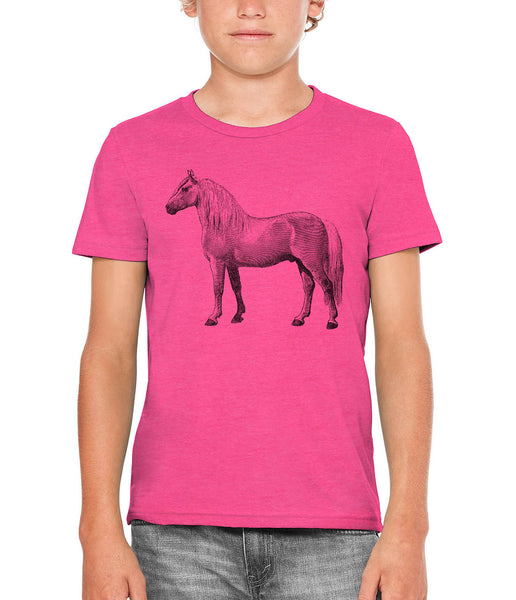 Austin Ink Apparel Albino Horse Unisex Kids Short Sleeve Printed T-Shirt