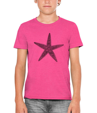 Printed In The Usa Austin Ink Apparel Prickly Starfish Unisex Kids Short Sleeve Printed T Shirtin Color Berry Pink Size Large
