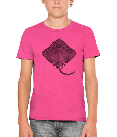 Austin Ink Apparel Stingray Illustration Unisex Kids Short Sleeve Printed T-Shirt