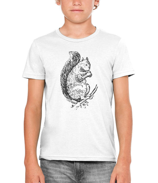 Austin Ink Apparel Acorn Squirrel Unisex Kids Short Sleeve Printed T-Shirt