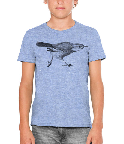 Austin Ink Apparel Running Blue Jay Bird Unisex Kids Vintage Printed T-Shirt
