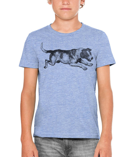 Printed In The Usa Austin Ink Apparel Playing Barking Dog Unisex Kids Vintage Printed T Shirtin Color Aqua Size Small