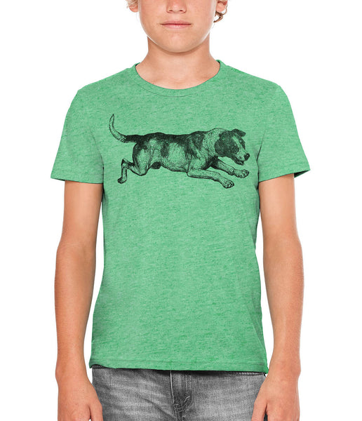 Printed In The Usa Austin Ink Apparel Playing Barking Dog Unisex Kids Vintage Printed T Shirtin Color Berry Pink Size Large