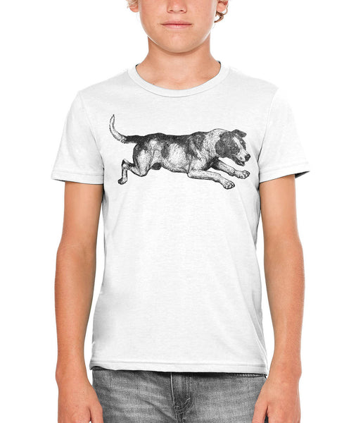 Printed In The Usa Austin Ink Apparel Playing Barking Dog Unisex Kids Vintage Printed T Shirtin Color Blue Size Large