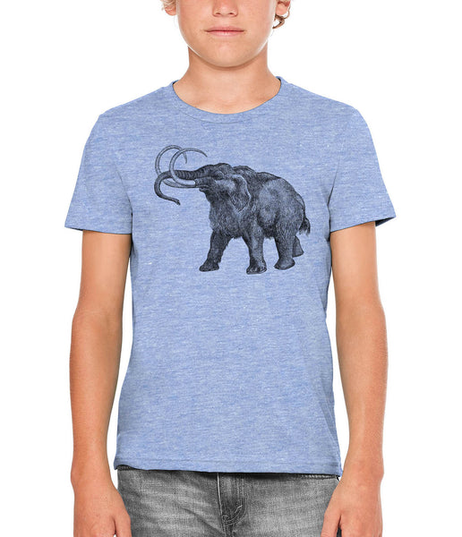Printed In The Usa Austin Ink Apparel Ancient Wooly Mammoth Unisex Kids Vintage Printed T Shirtin Color Blue Size Large