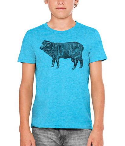 Austin Ink Apparel Wooly Farm Sheep Unisex Kids Vintage Printed T-Shirt