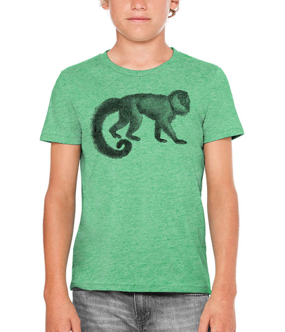 Austin Ink Apparel Woolly Tailed Monkey Unisex Kids Vintage Printed T-Shirt