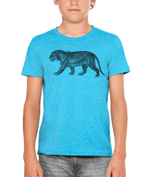 Austin Ink Apparel Angry Prowling Tiger Unisex Kids Vintage Printed T-Shirt