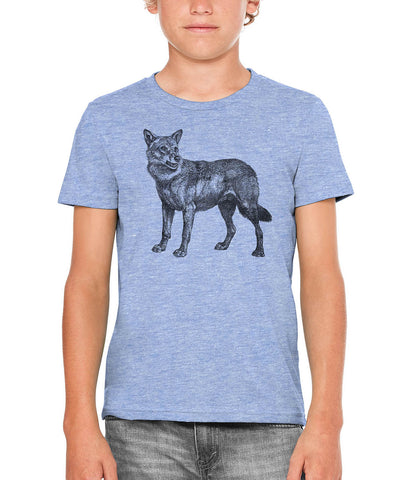 Austin Ink Apparel Vintage Coyote Unisex Kids Vintage Printed T-Shirt