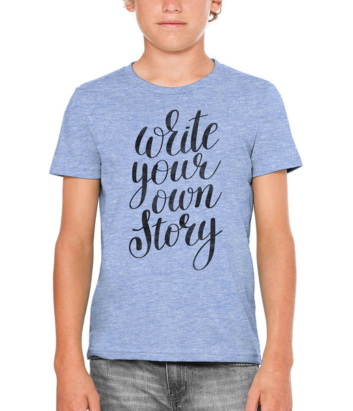Printed In The Usa Austin Ink Apparel Write Your Own Story Unisex Kids Vintage Printed T Shirtin Color Aqua Size Large