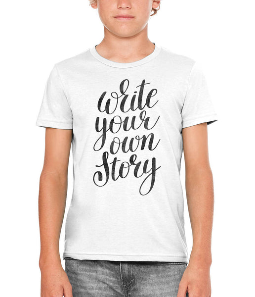 Printed In The Usa Austin Ink Apparel Write Your Own Story Unisex Kids Vintage Printed T Shirtin Color Heather Grey Size Large