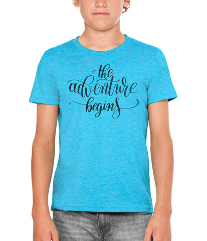 Austin Ink Apparel The Adventure Begins Quote Unisex Kids Vintage Printed T-Shirt