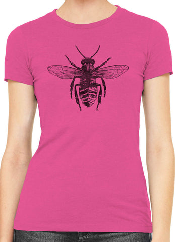 Austin Ink Honey Bee Womens Slim Short Sleeve Cotton T-Shirt