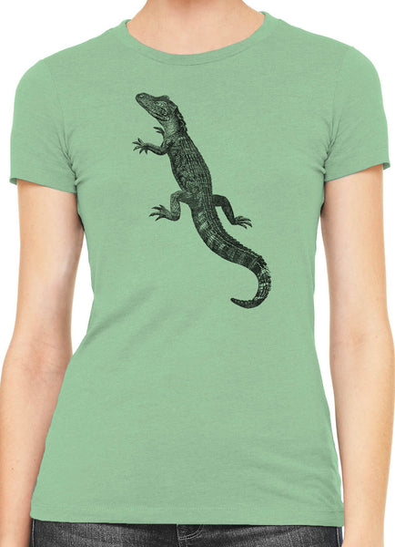 Austin Ink American Alligator Womens Slim Short Sleeve Cotton T-Shirt