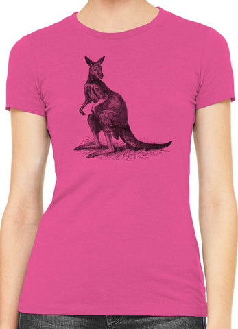 Austin Ink Lookout Kangaroo Womens Slim Short Sleeve Cotton T-Shirt