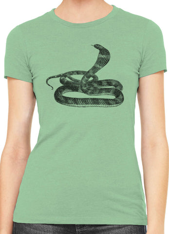 Printed In The Usa Austin Ink King Cobra Womens Slim Short Sleeve Cotton T Shirtin Color Aqua Size Extra Small