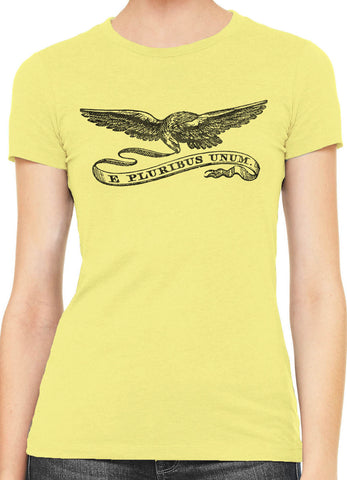 Austin Ink Eagle with Streamer Womens Slim Short Sleeve Cotton T-Shirt