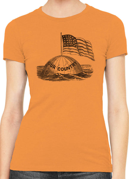 Austin Ink America on Top of the World Womens Slim Short Sleeve Cotton T-Shirt