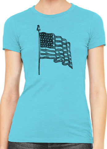 Austin Ink USA Flag Womens Slim Short Sleeve Cotton T-Shirt