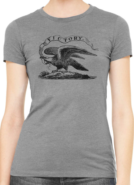 Austin Ink American Victory Eagle Womens Slim Short Sleeve Cotton T-Shirt