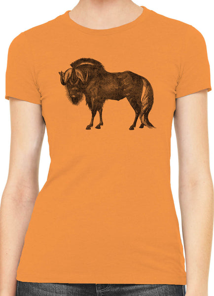 Austin Ink African Wildebeest Womens Slim Short Sleeve Cotton T-Shirt