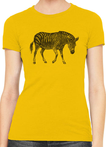 Austin Ink Striped Zebra Womens Slim Short Sleeve Cotton T-Shirt