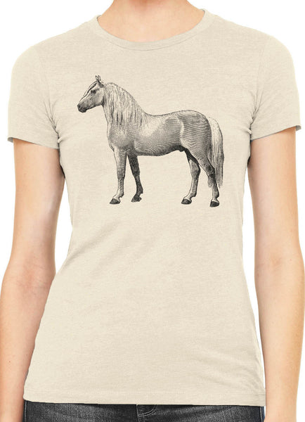 Austin Ink Albino Horse Womens Slim Short Sleeve Cotton T-Shirt