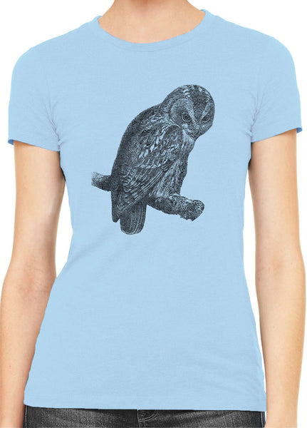 Austin Ink Apparel Angry Tawny Owl Womens Slim Short Sleeve T-Shirt