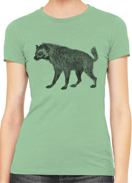 Austin Ink Apparel African Spotted Hyena Womens Slim Short Sleeve T-Shirt