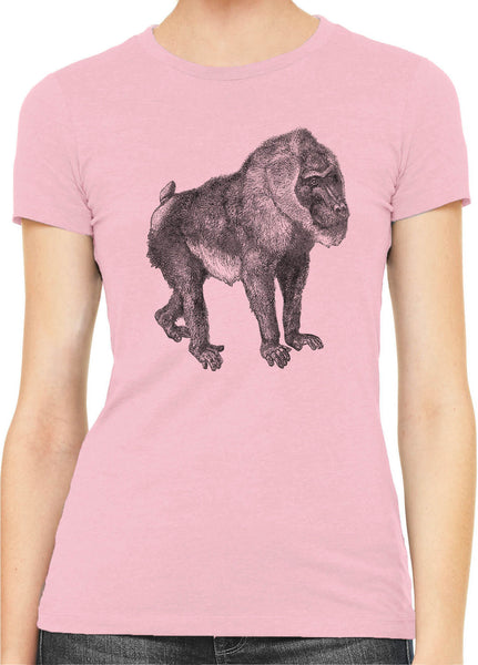 Austin Ink Apparel African Baboon Sketch Womens Slim Short Sleeve T-Shirt