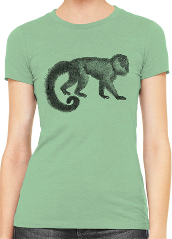 Austin Ink Apparel Woolly Tailed Monkey Womens Slim Short Sleeve T-Shirt