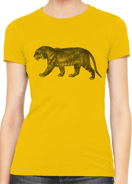 Austin Ink Apparel Angry Prowling Tiger Womens Slim Short Sleeve T-Shirt