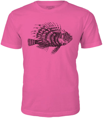 Printed In The Usa Austin Ink Spiney Lionfish Short Sleeve Cotton Mens T Shirtin Color Aqua Size Extra Small