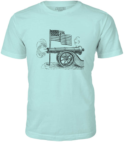 Austin Ink USA Flag and Cannon Short Sleeve Cotton Mens T-Shirt