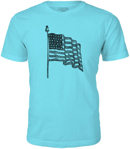 Austin Ink USA Flag Short Sleeve Cotton Mens T-Shirt