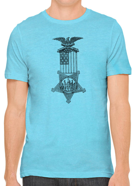 Austin Ink Apparel American Flag Medal Short Sleeve Cotton Mens T-Shirt