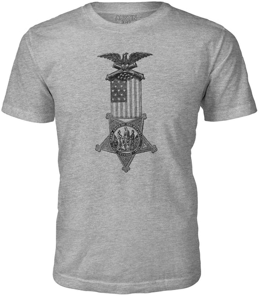 Austin Ink American Flag Medal Short Sleeve Cotton Mens T-Shirt