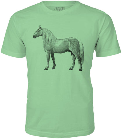 Austin Ink Albino Horse Short Sleeve Cotton Mens T-Shirt