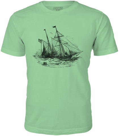 Austin Ink Storm Ship Short Sleeve Cotton Mens T-Shirt
