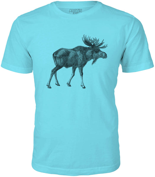 Austin Ink Alaskan Moose Short Sleeve Cotton Mens T-Shirt