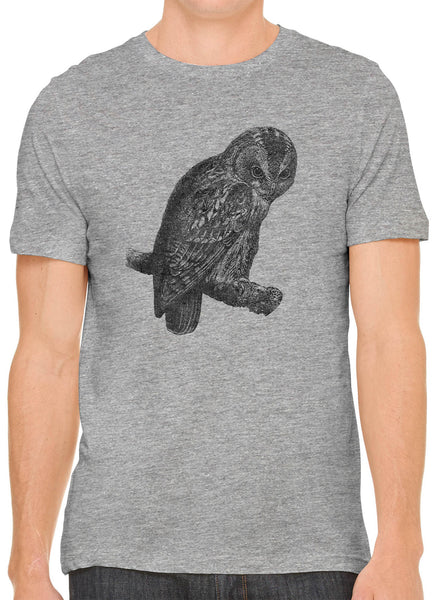 Austin Ink Apparel Angry Tawny Owl Short Sleeve Premium Cotton Fitted Unisex Mens T-Shirt