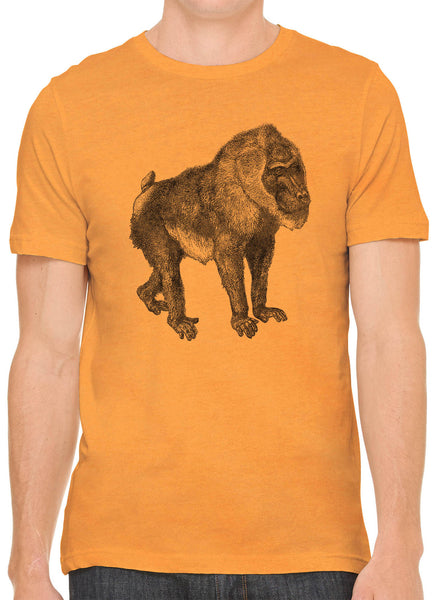 Austin Ink Apparel African Baboon Sketch Short Sleeve Premium Cotton Fitted Unisex Mens T-Shirt