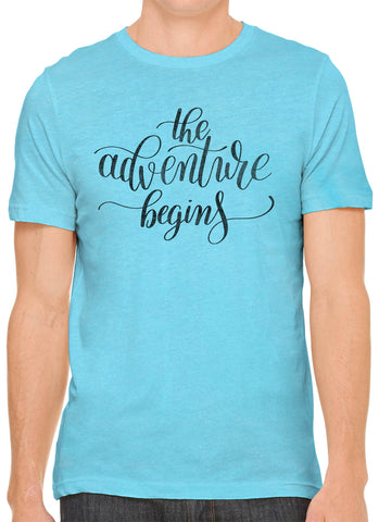 Austin Ink Apparel The Adventure Begins Quote Short Sleeve Premium Cotton Fitted Unisex Mens T-Shirt